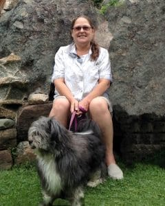 Barbara Keltner with her rescue dog